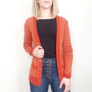 Martin + Osa Cashmere Silk Orange Striped Cardigan